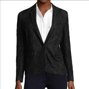 The Kooples Lacy Black Lace Blazer Button